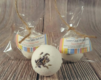 Bath Bomb- Luxury Goat Milk Lavender and Chamomile, Lavender Bath Bomb, Bath Fizzy, Milk Bath