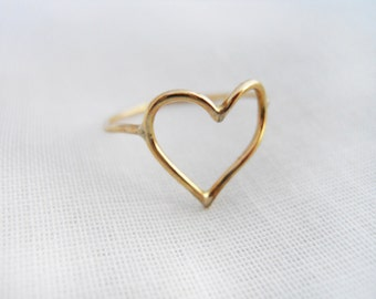 Swollen Heart Ring 14k Gold Filled or Sterling Silver