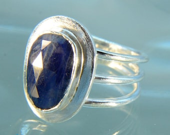 Natural Blue Sapphire Silver Ring SR495