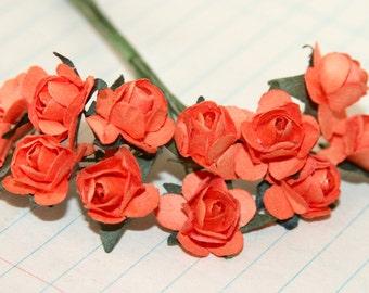 12 Cheery Orange Paper Roses