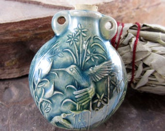 Peruvian Ceramic Raku Hummingbird Bottle