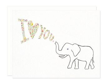 I Love You Elephant Greeting Card