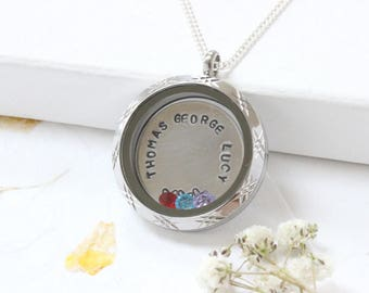 Mothers Necklace With Kids Names, 3 Kids Name Necklace, Mother Necklace With Birthstone, Name Necklace With Kids Name, Personalized necklace