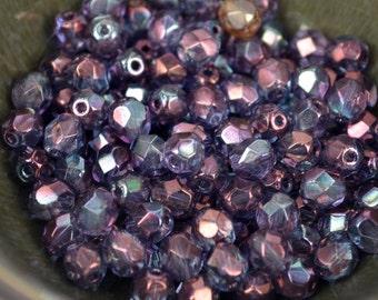 25 pc Czech firepolish glass beads 6mm Lt Saphire Celsian