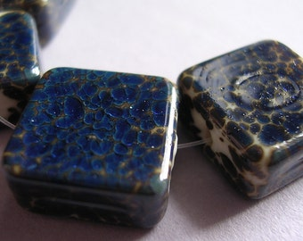Lampwork Glass Blue Beads Handmade Silver Blue on Ivory Tiles Ericabeads (4)