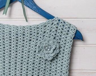 Ice blue simple crochet lace top vest crochet pattern by Liz Ward