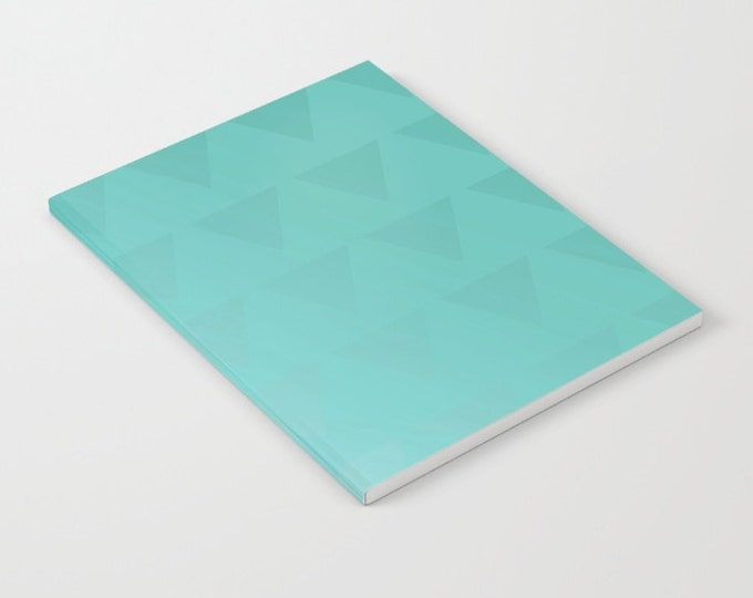 Blue Cyan Notebook - Ombre with Triangles - Blank Book - Lined - Unlined - Made to Order