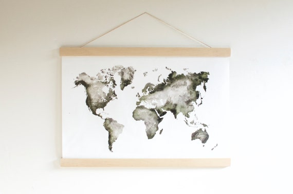Watercolor world map hanging canvas world map nursery watercolor world map hanging canvas world map nursery decor handpainted map modern wall art travel map christmas gifts for mom gumiabroncs Choice Image
