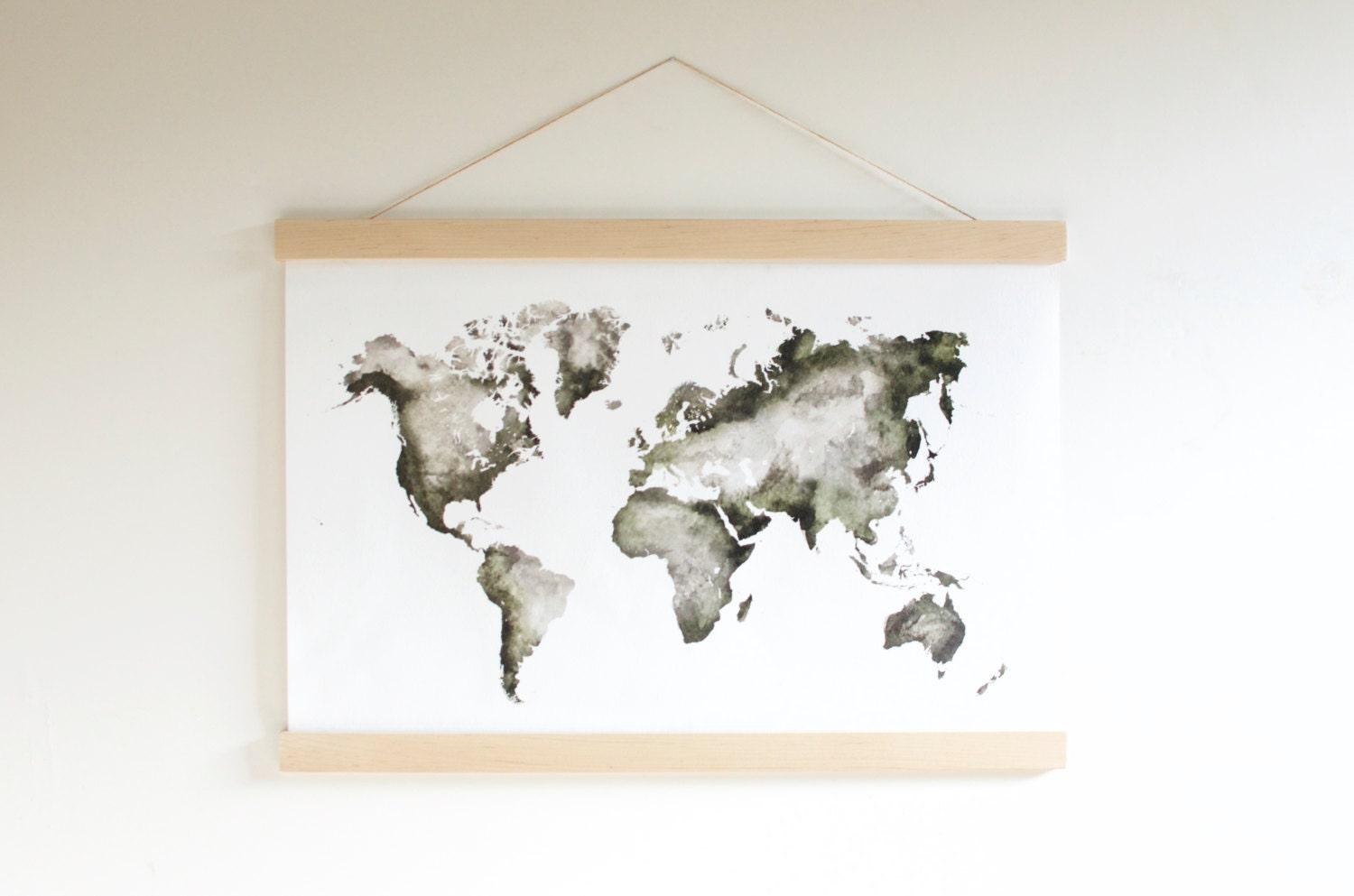 Watercolor world map hanging canvas world map nursery ampliar gumiabroncs Image collections