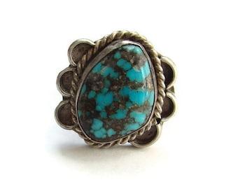 Turquoise Ring Southwestern Navajo Sterling Silver Size 5 Fabulous Matrix