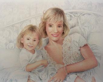 Colored Pencil Mom and Child