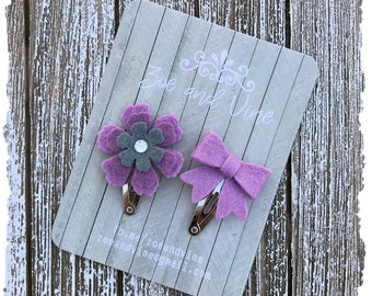 READY TO SHIP, Heathered Lavender Charcoal Gray Grey Wool Felt Flower Mini Bow Clip Set, Baby Clips, Infant Girls Adult Mini Snap Clips