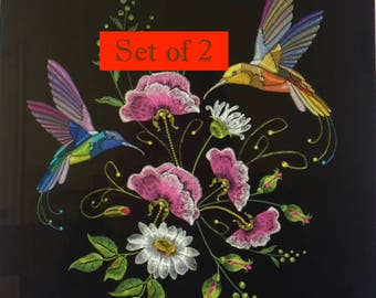 Tile set,floral Art, Flower Painting,Hummingbird,Nature Scene,Bird,Embroidery,woman's gift,Gift for her,Housewarming,Home Decor,Wall hanging