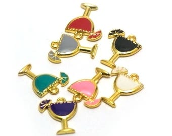 """4 """"multi-colored cocktail"""" enameled charms, 17 x 14 mm, gold"""