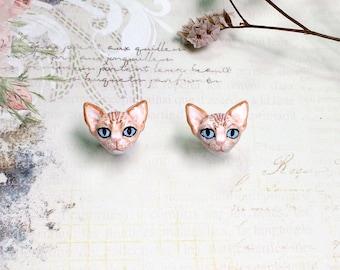 Sphynx cat earrings, Cat stud earrings, tiny cat earrings, cat sculpture, Polymer clay cat, cat lover gifts