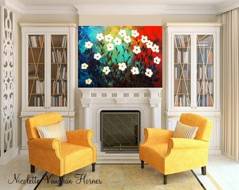 HUGE Abstract Textured White Daisy Flowers Modern Painting by Nicolette Vaughan Horner 48x 36