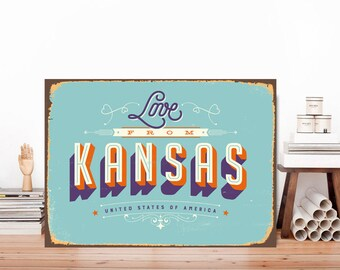 Love from Kansas Kansas sign City wall art Kansas art American city print USA metal sign City signUSA wall art Kansas Print Sign  sc 1 st  Etsy & Kansas city wall art | Etsy