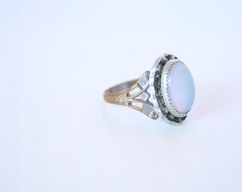 Vintage Art Glass Opal Ring Southwestern Silver Glass Stones Accents