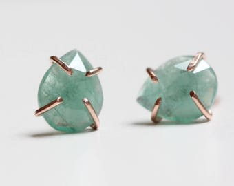 Emerald Earrings in 14k Gold - 14k Gold and Emerald - Rose Cut Pear Emerald Studs - Recycled 14k Gold Studs