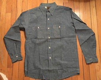 NOS 1950s Chambray Work Shirt by Washington Dee Cee