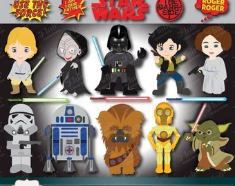 80% OFF STAR WARS Digital Clipart, Darth Vader, Luke Skywalker, Han Solo, R2-D2, Yoda, Princess Leia, Chewbacca, Space Characters