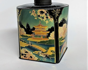 Asian Tea Tin Excellent Graphics Chinoiserie Artifact Vintage Asian Tin Decorative Metal Asian Scenes