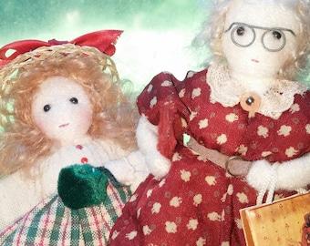 Waldorf Style Dolls 5 inch Handmade OOAK Pair of Folk Dolls 1995