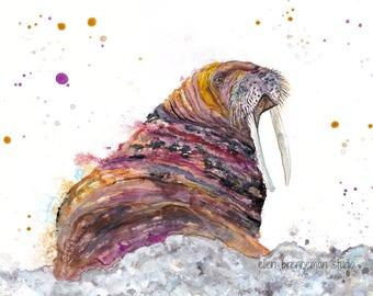 Walrus spirit animal art print, walrus art, ocean art, walrus decor, walrus wall art, arctic animals, nursery animal art, ellen brenneman