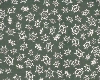 Tenugui 'Green Turtles' Fabric Japanese Cotton Gauze w/Free Insured Shipping