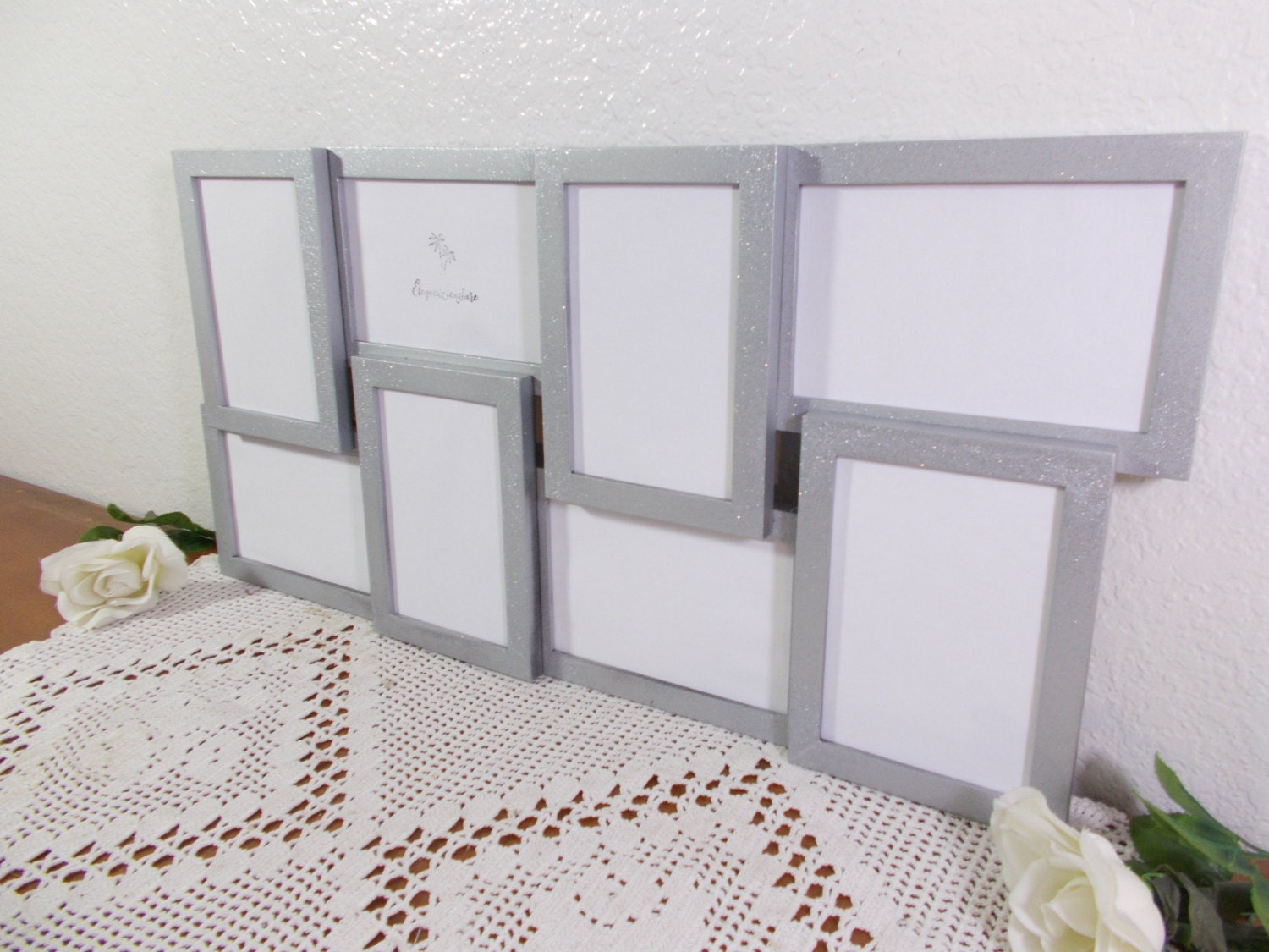 Silver Glitter Collage Picture Frame Eight 4x6 Photo Decoration ...