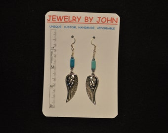 Small Silver Colored Angle Wings with Turquoise and Silver Beads on Ear Wires