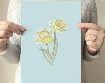 Daffodil Illustration. Daffodil Digital Paper. Digital Download. Wall Art. INSTANT DOWNLOAD. Digital Watercolor. Drawing. Flowers. Easter.