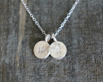 Tiny Silver Initial Disc Necklace // Two Hammered Personalized Discs on a Sterling Silver Chain • Custom Monogram Personal Gift for Her