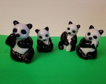 Set of 4 Ceramic Panda Bears