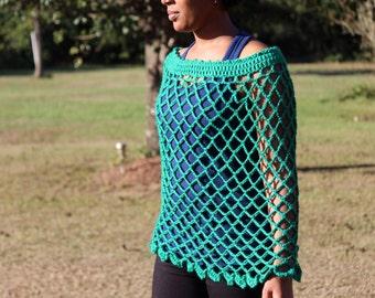 Kelly Green Crochet Poncho - Crochet Poncho - Women's Poncho - Teen Crochet Poncho - Crochet Cover-up