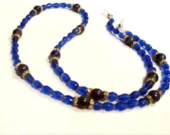 Blu Eyeglass Holder Necklace, Glass Bead Necklace To Hold Eye Glasses And Sunglasses