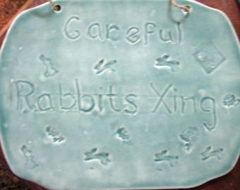 "Ceramic ""Rabbit Crossing"" Garden Tile"