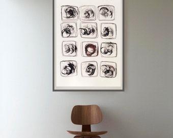 Abstract painting, modern ink art, circles art, block, stones, minimal abstract art, large wall art,  contemporary abstract, art, ink art