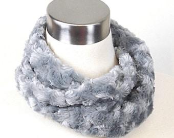 Silver Gray Minky Cowl - Gray Faux Fur Scarf - No Fuss Silver Infinity Scarf - Silver Grey Minky Scarf
