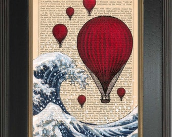 Mixed media with Acrylic Painting of  Hokusai's Great Wave with Red Balloons Ink and Paint Print on 1860's Antique Page