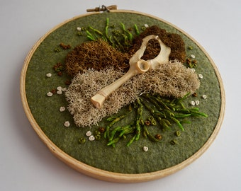 "Moss and Bone Emrboidery - Muskrat Pelvis - Real Bone - Hand Stitched - Recycled Fabric - 5"" Hoop Ready to Hang"