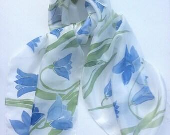 Blue Harebells hand painted silk scarf.  Harebell scarf.  Silk scarf hand painted