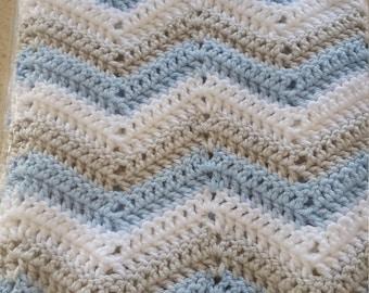 Hand Crochet Chevron Afghan, Blanket,Crochet Chevron Baby Boy Blanket