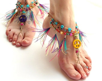 Hippie Peace Barefoot Sandals, Colorful Feather Fringe Foot Jewelry, Barefoot Jewelry, Stacked Anklets, Earthing Shoes, Yoga Sandals, Hemp