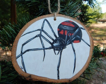 Black Widow Spider Hand painted wood slice ornament