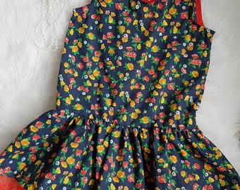 Navy floral cotton dress