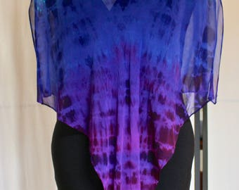 Turquoise, Blue, Purple Silk Chiffon Poncho 3406