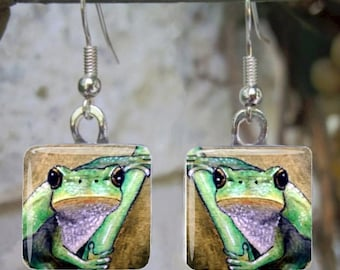 Frog Glass Earrings, Frog Pendant, Frog 5 from art painting by L.Dumas