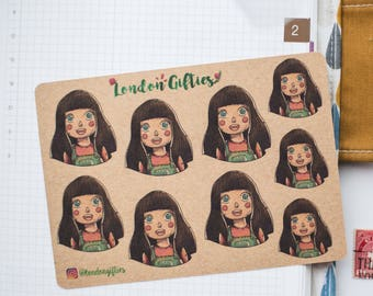 Happy girl illustration - decorative vintage look kraft watercolour planner stickers suitable for any planner -493-