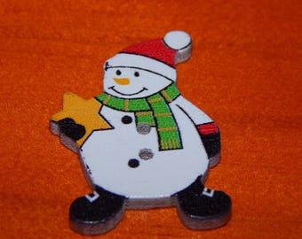 Snow snowman button
